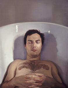 Melanie Vote painting: In Tub (2006), oil on panel, 35x50 in.