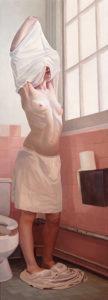Melanie Vote painting: Release (2003), oil on panel, 24x60 in.