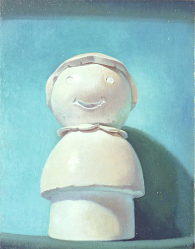 Melanie Vote painting: Little Person - Blue (2006), oil on panel, 8x10 in.