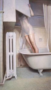 Melanie Vote paintin: Inquest (2004), oil on panel, 20x33.5 in.