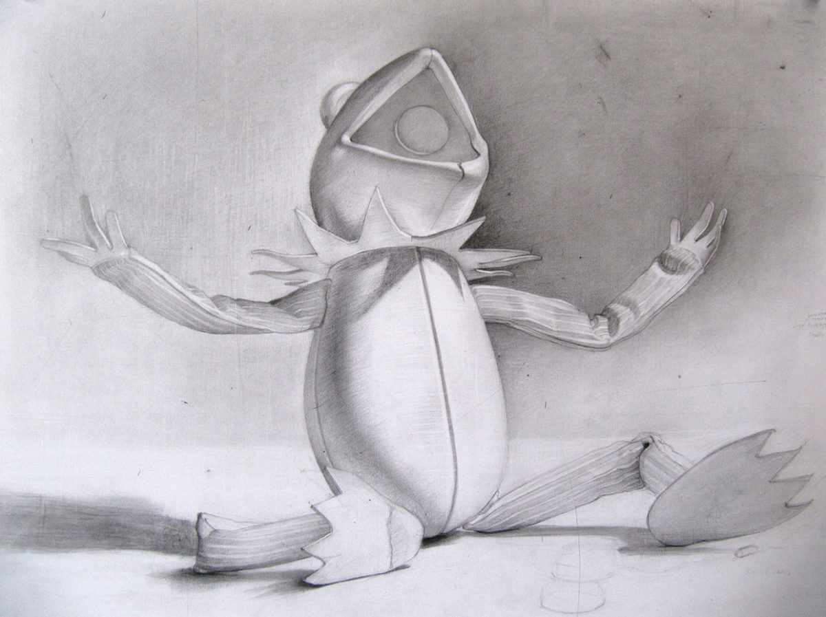 Drawing of the Sculpture made in Kermit's likeness.