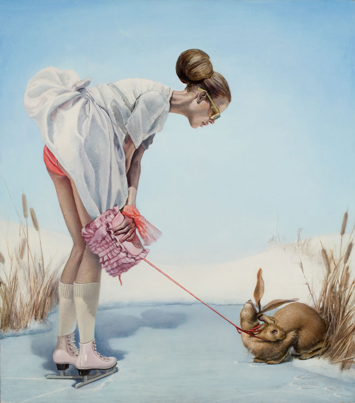 Girl with Double Headed Hare (2008) oil on panel 14 x 17 in.