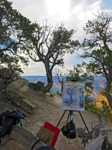 Painting easel set in the Grand Canyon National Park while in art residency during the Summer of 2017.
