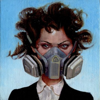 Melanie Vote painting from the Girls series. Girl with Gas Mask (2008), oil on panel, 4x4 in.