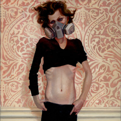 Girl with Gas Mask II (2008) oil on panel 9 x 17 in.