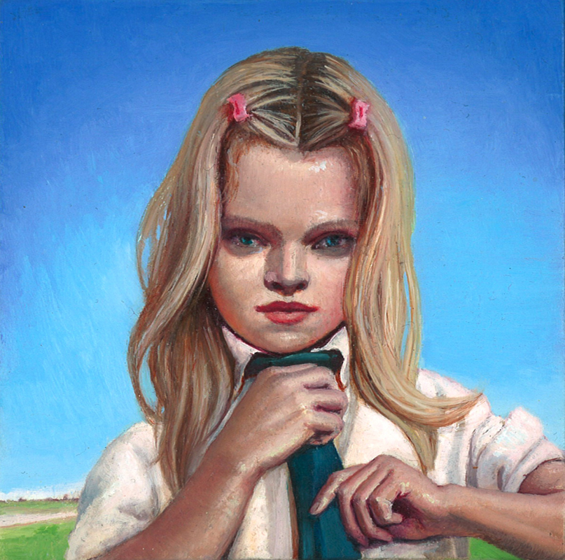 Melanie Vote painting: Girl with Tie (2008), oil on linen, 4x4 in.