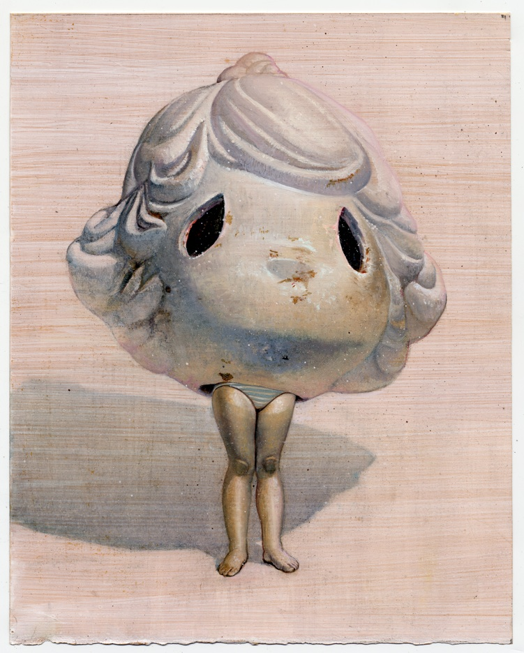Melanie Vote painting: Big Head (2011), oil on paper, 11x15 in.