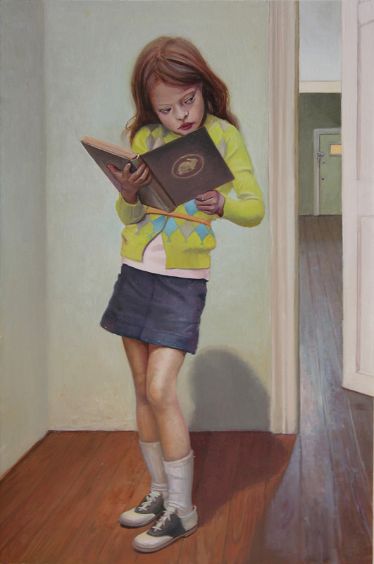 Melanie Vote painting: Girl with Book (2008), oil on panel, 8x12 in.