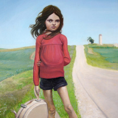 Melanie Vote painting: Girl with Carry All (2008), oil on panel, 8x12 in.