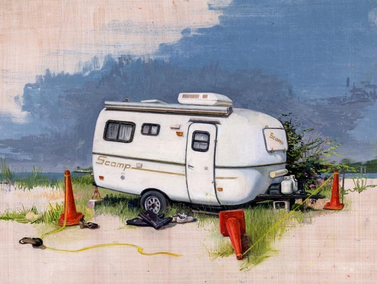 Melanie Vote painting: Scamp (2011), oil on paper, 11x13 in.