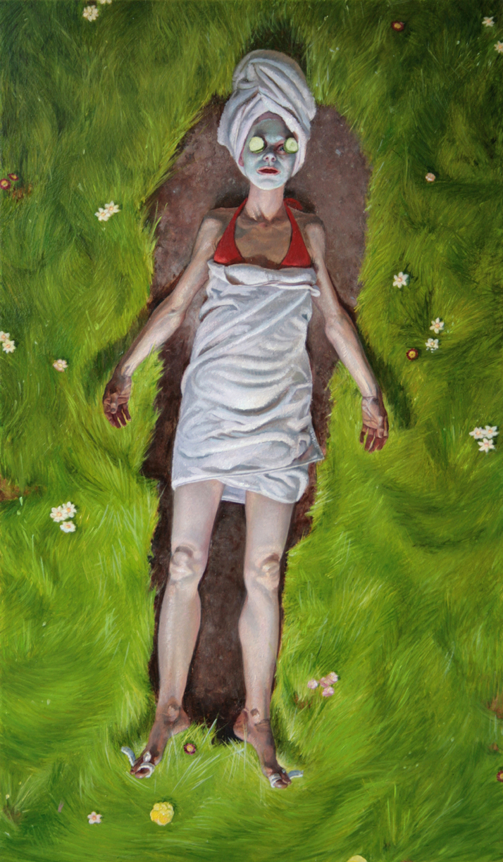 Melanie Vote painting: Girl with Cucumber and Mask (2008)oil on panel 10 x 17 in.