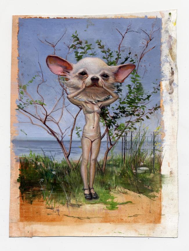 Melanie Vote painting: Dog Head (2011), oil on linen, 8x10 in.