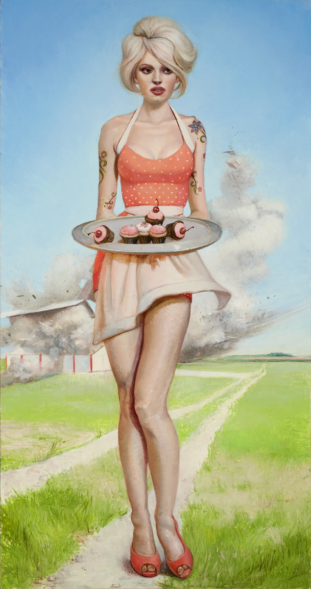 Melanie Vote painting: Girl with Cupcakes (2008), oil on panel 9x17 in..