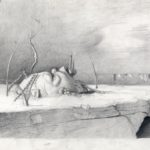 Melanie Vote drawing: Ruins in Refuge (2010) graphite on paper 17x10 in.