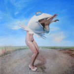 Melanie Vote painting: Frog Ballet (2014) oil on panel 14x17 in.
