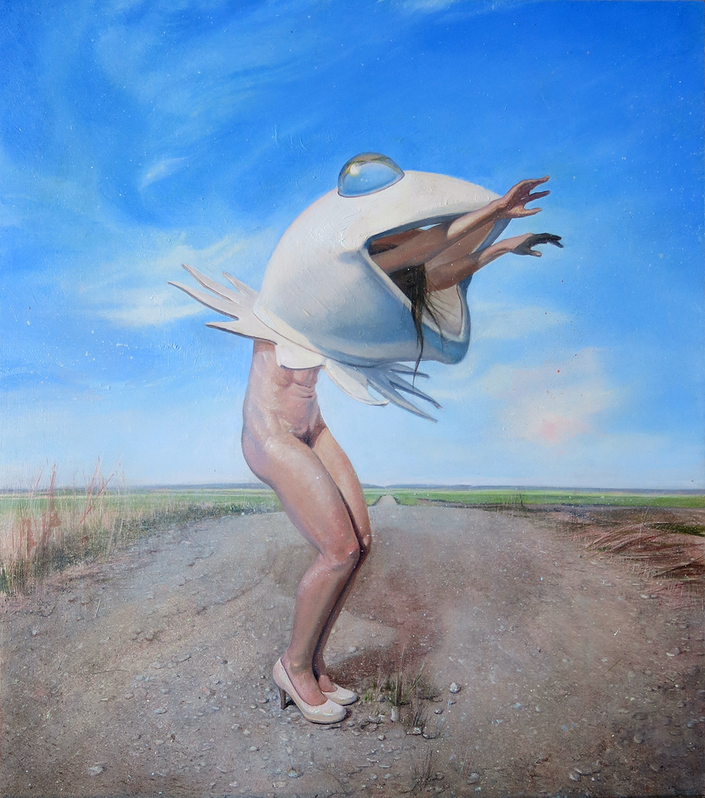 Melanie Vote painting: Frog Ballet (2014) oil on panel 14x17 in.