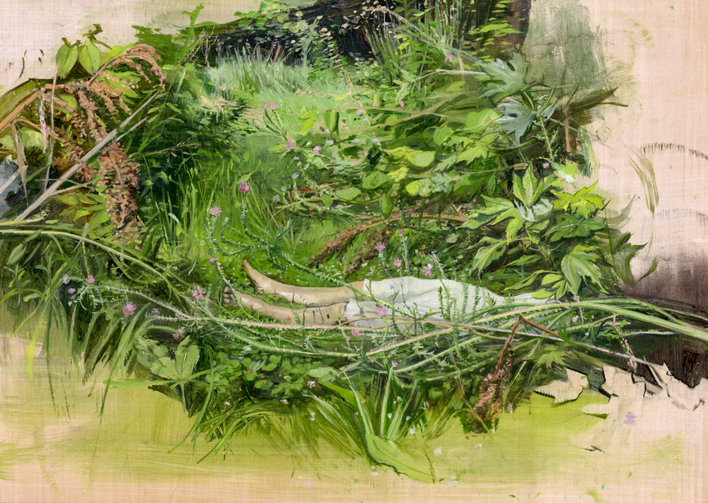Melanie Vote painting: Overgrowth (2015) oil on paper on wood, 8 x 12in