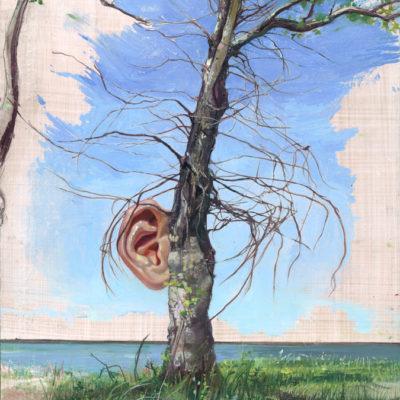 Melanie Vote painting: Hearing Tree (2012), oil paper panel, 9.5x13 in.