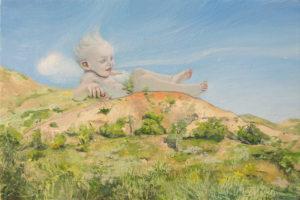 Melanie Vote painting: Baby Zephryus (2015) oil on panel 8x12 in.