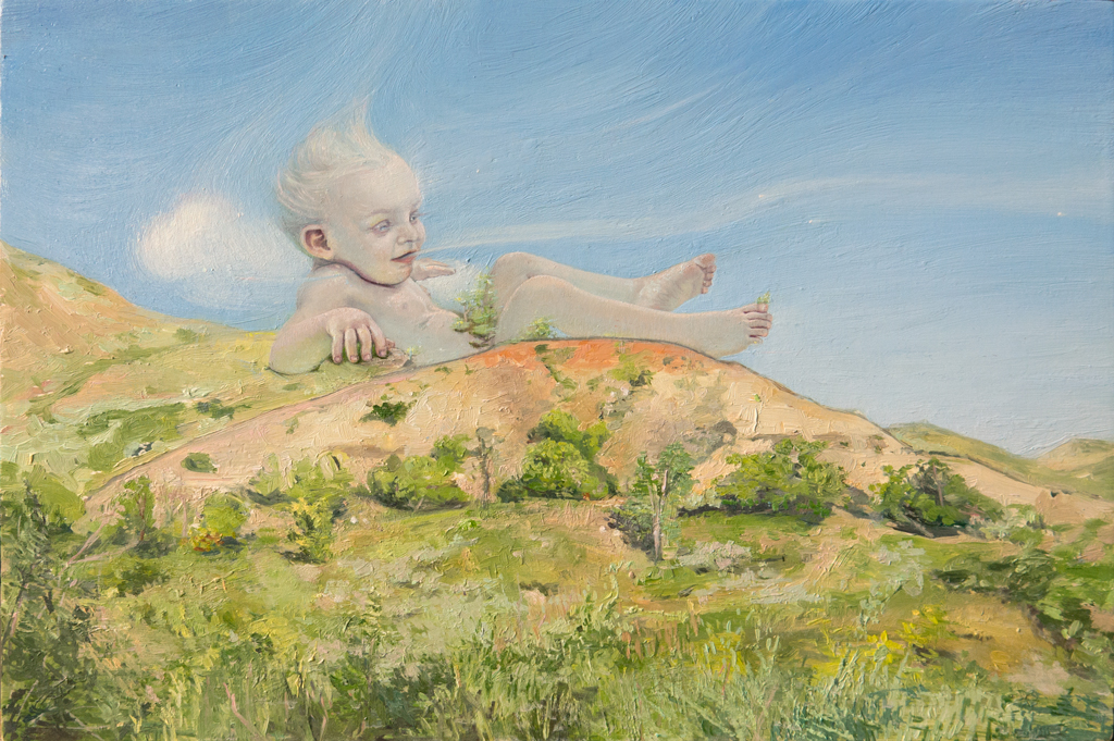 Melanie Vote painting: Baby Zephryus (2015) oil on panel 8x12 in.