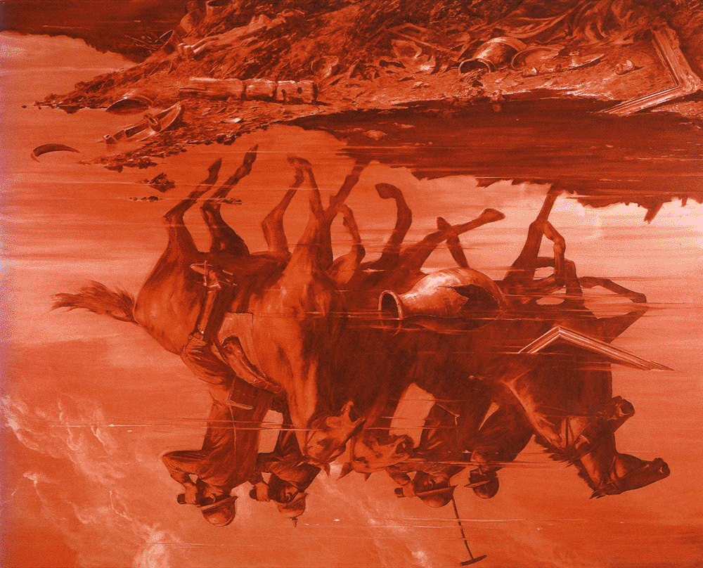Mark Tansey Forward Retreat (1986)oil on canvas94 x 116 in.Broad museum, LA