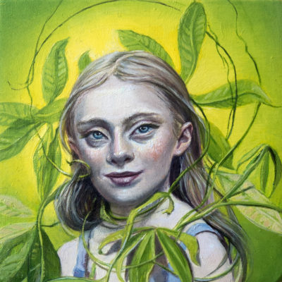 Melanie Vote painting: Young Lady of the Money Tree, 2017, oil on wood, 6x6in