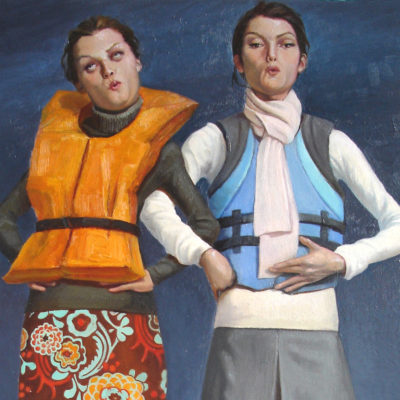 Melanie Vote painting: Girls in Boat (2008) oil on panel 8x17in