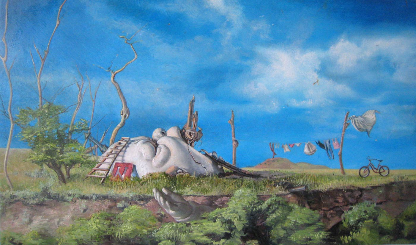 Melanie Vote painting Refuge in Ruins from 2010, oil on panel, 9x17in