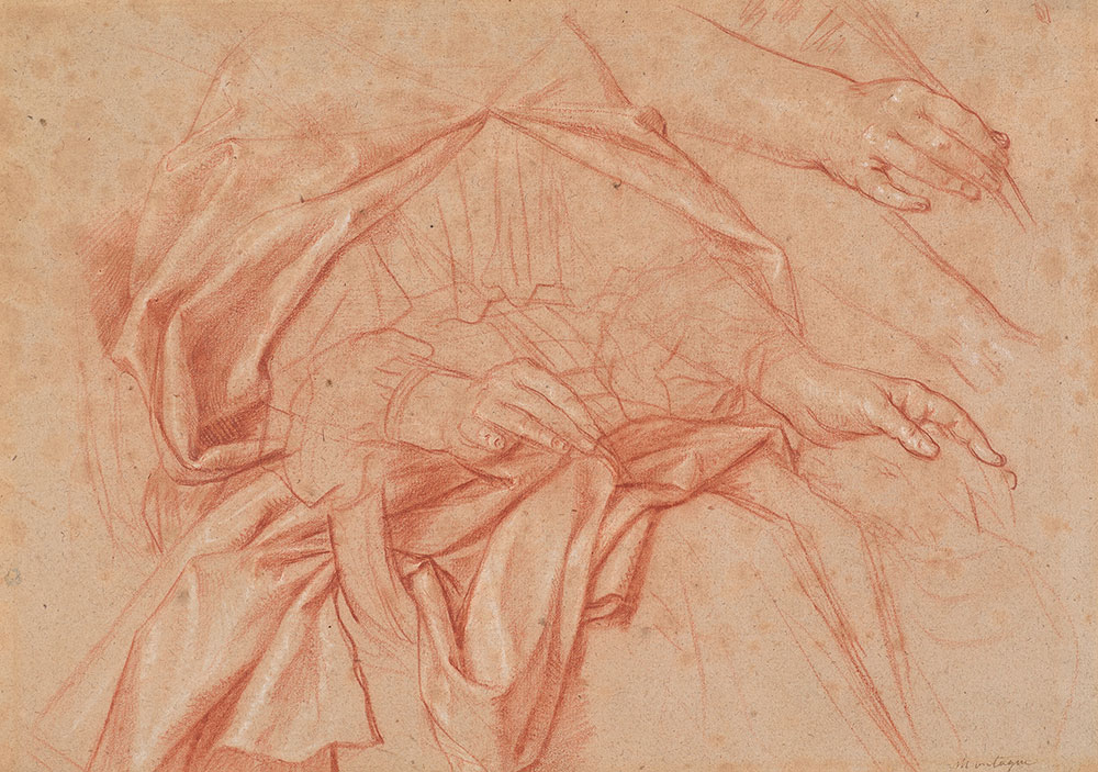 Nicolas de Plattemontagne (1631– 1706), Study of St. Agnes, with a Secondary Study of Her Hand Holding a Palm, ca. 1680, red and white chalk. The Morgan Library & Museum; Purchased on the E. J. Rousuck Fund, the Seligman Fund, and the Fellows Acquisition Fund; 2015.28.