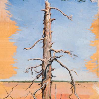 Totem Tree (in memory of Jake) (2017) oil on paper 9x12 in.