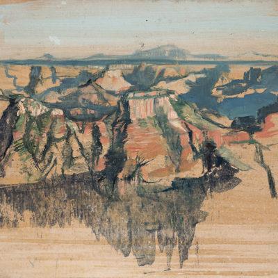 North Rim Overlook (2017) oil on paper, 5x17 in.