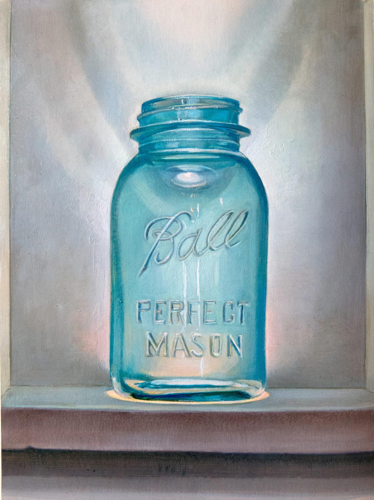 Glass Mason Jar Illuminated